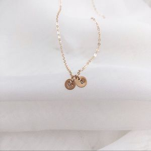 Jewelry - Personalized Initials Necklace, 2 Tiny Discs.
